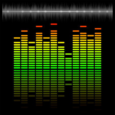 amplitude: Eq, equalizer scale with reflection and chart, 2d vector on dark background