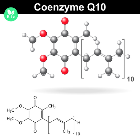 Coenzyme Q10, structural chemical formula and model, 2d & 3d vector, eps 8