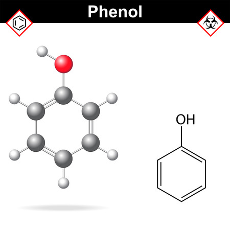 reagent: Phenol - chemical formula and model, 2d and  3d vector isolated on white background, ball and stick style