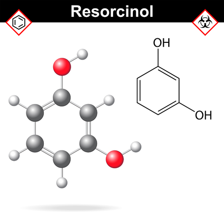 Resorcinol - chemical formula and model, 2d and  3d vector isolated on white background, ball and stick style