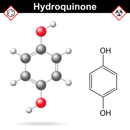 Hydroquinone - chemical formula and model, 2d and  3d vector isolated on white background, ball and stick style