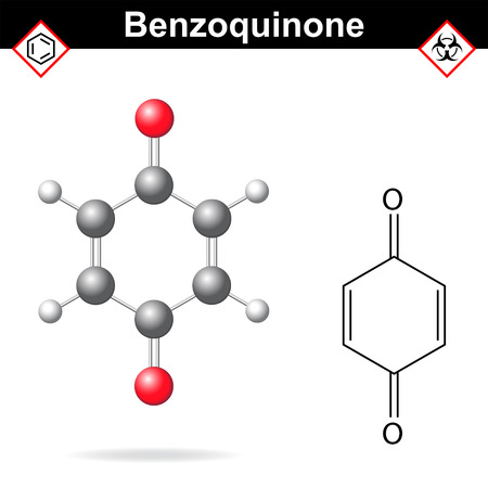 carcinogenic: Benzoquinone - chemical formula and model, 2d and  3d vector isolated on white background, ball and stick style