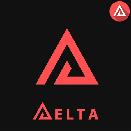 Delta letter  template on dark background, d triangle sign, 2d vector