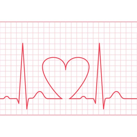 systole: ECG - electrocardiogram on red grid , 2d vector on white background Illustration