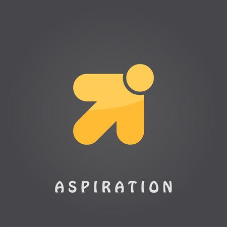 Aspiration  template, arrow pointer, 2d vector on dark gradient background, eps 10