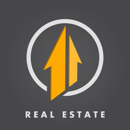 Real estate template, 3d vector on dark gradient background