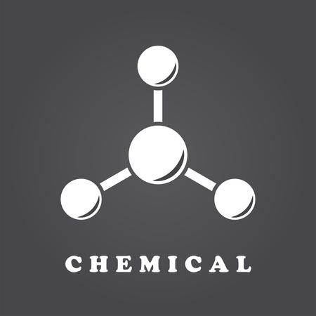 amoniaco: Icono de la molécula en el backgound degradado oscuro, estructura abstracta, vector 2d