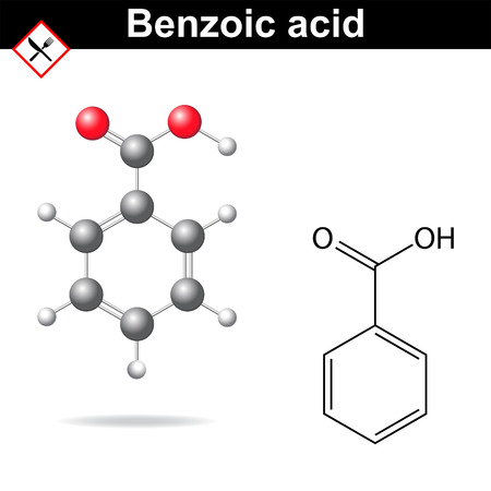 benzoic: Benzoic acid - food and cosmetic preservative Illustration