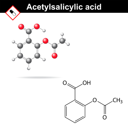 salicylate: Acetylsalicylic acid - medical substance, molecular structural formula and model,  anti-inflammatory drug