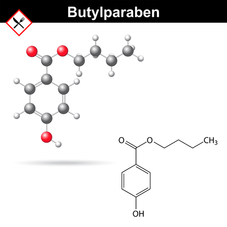 carcinogenic: Butylparaben - food and cosmetic preservative of paraben family, chemical formula and model, 2d & 3d vector, isolated on white background, eps 8
