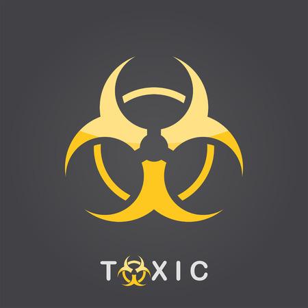 poisoning: Toxic sign on dark gradient background,  bio hazard icon, 2d vector,