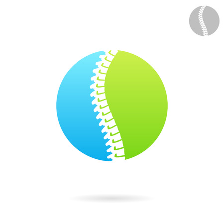 orthopedic: Vertebral column logo template, round plate, spine treatment icon concept, 2d vector on white background,