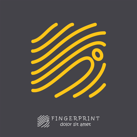 shadowing: Fingerprint icon on dark background, id logo concept, 2d vector,  Illustration