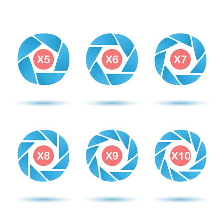 circle design: Segmented aperture circle icon set, 3d vector on white background with shadows, isolated,  Illustration