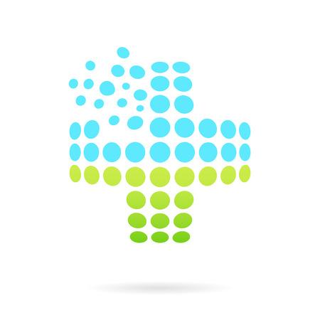 ヘルスケア: 凸医療十字、十字形の白い背景の 3 d ガラス ベクトル