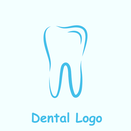 dent: Dental logo template, dent icon on light blue background, 2d vector,  Illustration