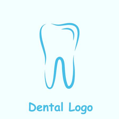dent: Dental logo template, dent icon on light blue background, 2d vector,  Illustration