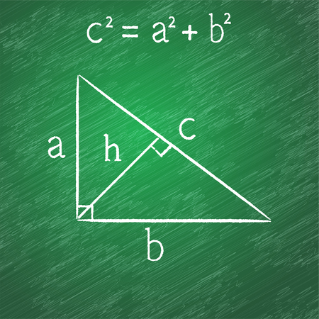 Pythagorean proposition on blackboard, right triangle, chalk stained, 2d vector. Texture on a separate layer