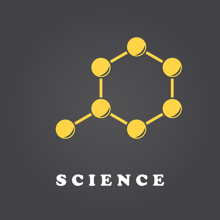 chain reaction: Science molecule template on dark gradient backgound, 2d vector