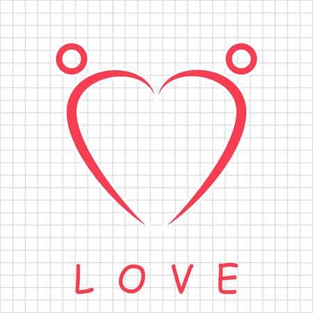 두 행복 사람들 형성 심장 모양, 사랑 아이콘, 그리드에 2 차원 벡터, 8 분기 EPS 일러스트