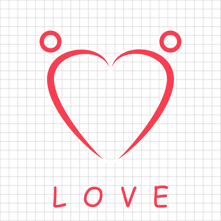 Two happy people formed heart shape, love icon, 2d vector on grid, eps 8