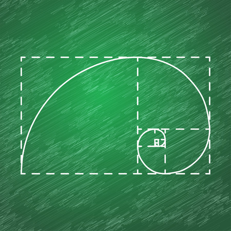 logarithmic: Golden ratio, 2d vector, dotted frame, school blackboard background