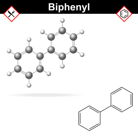 biphenyl: Biphenyl - citrus fruit preservative, E230 additive, chemical formula and model, 2d & 3d vector on white background