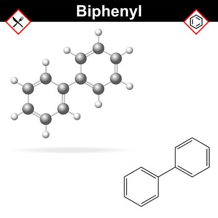 preservative: Biphenyl - citrus fruit preservative, E230 additive, chemical formula and model, 2d & 3d vector on white background
