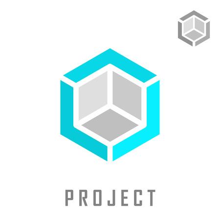 Isometrisch kubus bouw, 3D-vector, structuur concept, geïsoleerd op een grijze achtergrond Vector Illustratie