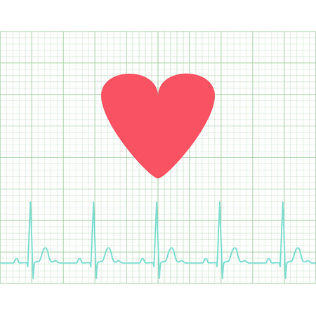 grid paper: EKG - Medical electrocardiogram on grid paper, graph of heart rhythm, chart strip, 2d illustration, vector Illustration