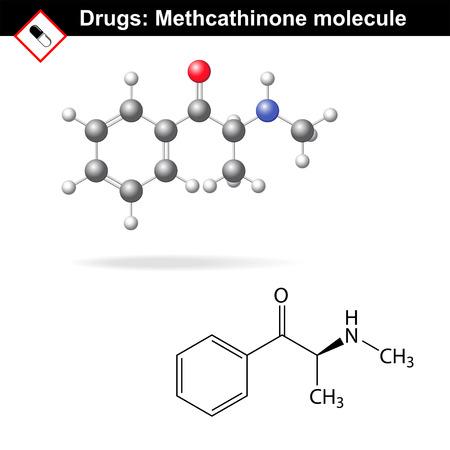 narcótico: Metcatinona molécula droga recreativa, fórmulas químicas estruturais, 2d e 3d vector isolado no fundo branco, Ilustração