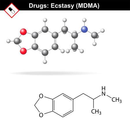 extase: Ecstasy recreatieve drug structuur, mdma chemische moleculaire formules, 2D & 3D-vector geïsoleerd op een witte achtergrond,