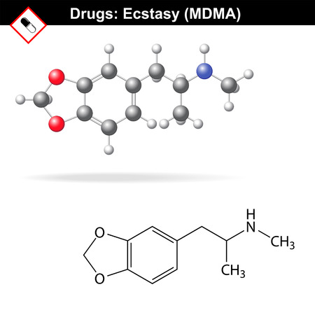 Ecstasy recreational drug structure, mdma chemical molecular formulas, 2d & 3d vector isolated on white background, Illustration