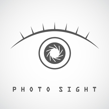 eyelash: Photo eye with eyelash icon, photosight concept, 2d vector