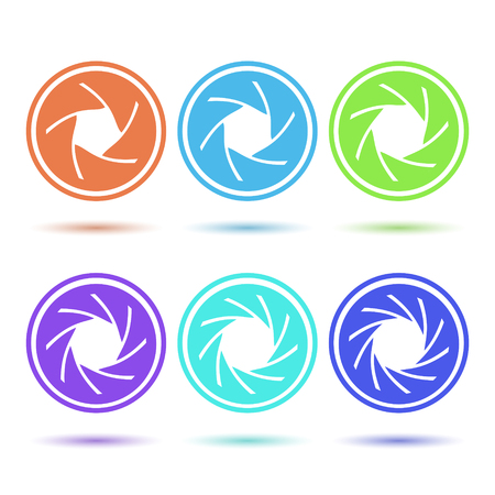 and aperture: Colored aperture disc icon set, 2d vector on white background, isolated,  Illustration
