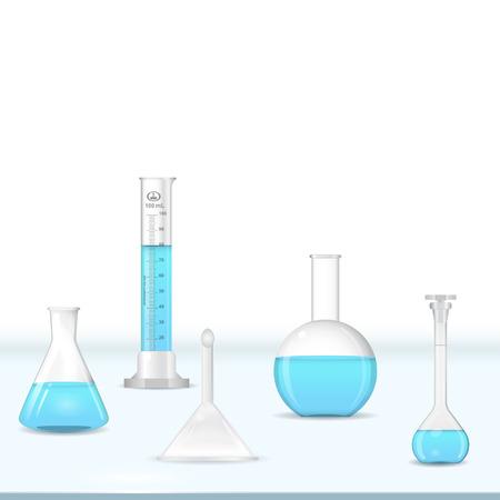 laboratorio: Kit de material de vidrio de laboratorio en la mesa, herramientas qu�micas, 3d vector,