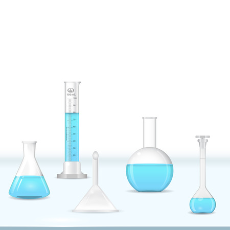 Lab glassware kit on table, chemical tools, 3d vector,  Ilustracja