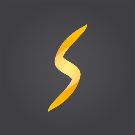 s curve: Lightning concept, s letter icon, 3d vector on dark gradient background,  Illustration