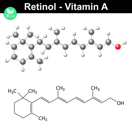 Retinol structure, vitamin a molecule, 2d vector isolated on white background, eps 8 Иллюстрация