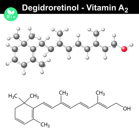 a2: Degidroretinol structure, vitamin a2 molecule, 2d vector isolated on white background, eps 8 Illustration