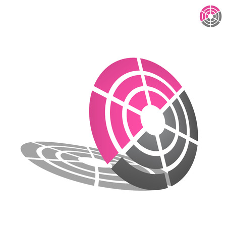 icom: Target icon, 2d and 3d vector on white background, eps 8
