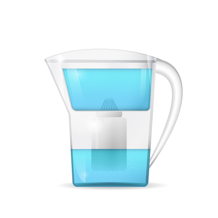filtration: Water filtration jug, household equipment, 3d vector,