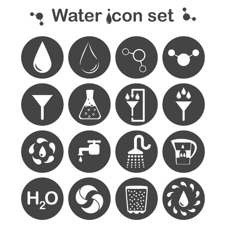 filtration: Water icon set 16 signs