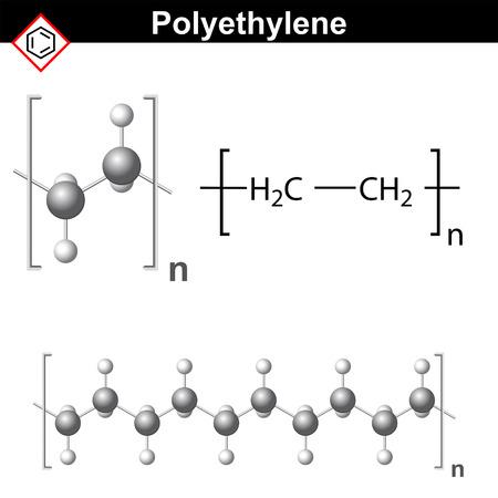 Formule chimique structurelle et le modèle de molécule de polyéthylène Banque d'images - 45466631