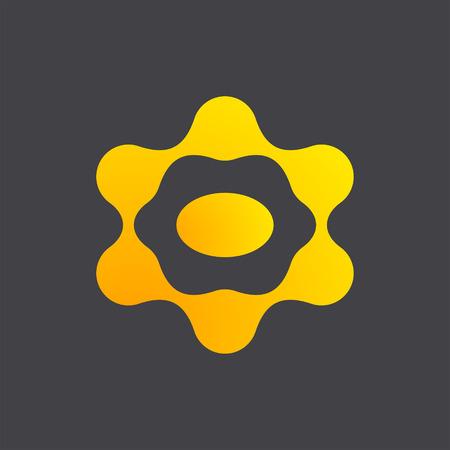 nexus: Ufo icon, link, 2d flat square vector on dark background Illustration