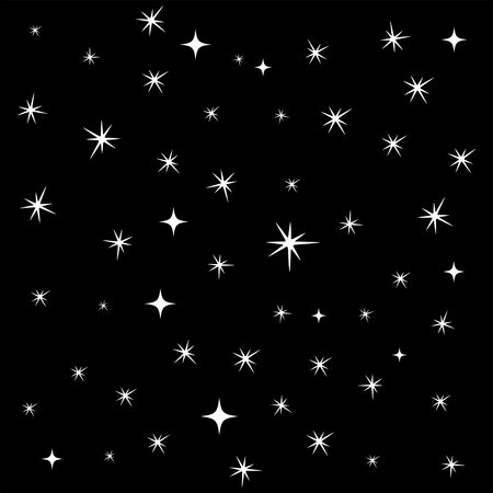 star sky: Star background, seamless pattern, 2d vector