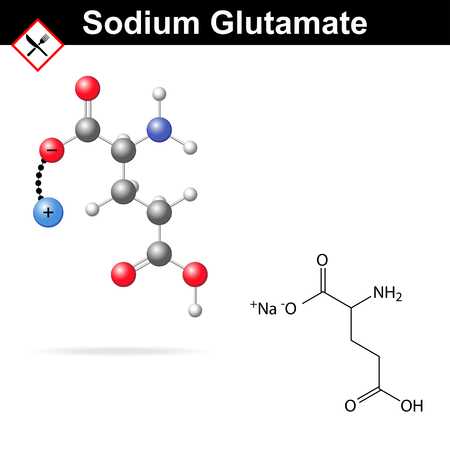 glutamate: Sodium glutamate - chemical structural formula and model, flavor enhancer, E621 food additive, amino acid, balls and sticks style, isolated on white background, 2d & 3d vector