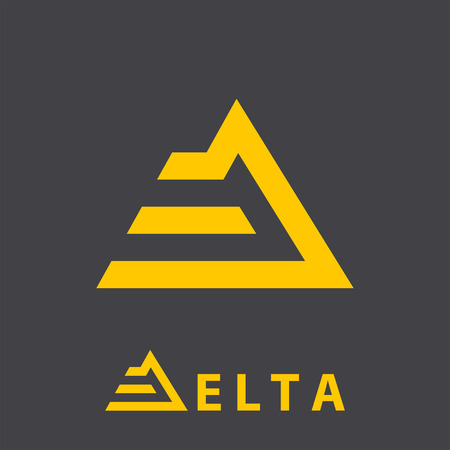 delta: D letter icon, delta sign, 2d vector on dark background, golden color
