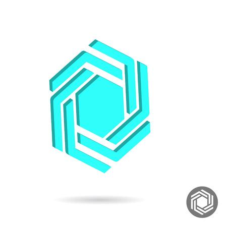Hatszögletű kialakítás jele, hatszög ikon sablon, 2D és 3D vektor
