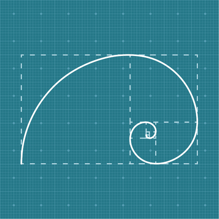 golden ratio: Golden section on grid paper, 2d golden ratio, project concept, vector